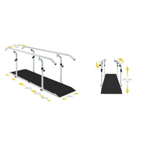 Barres Parallèles Ferrox - Avec Plancher antidérapant et main courante pivotante 360°